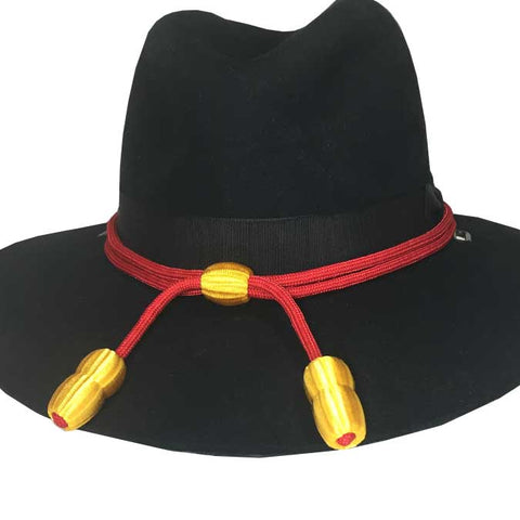 Hat Cord - Red w/ Yellow Acorns