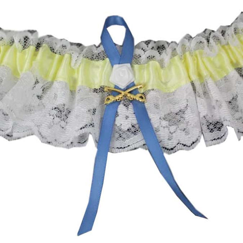 CavHooah Yellow Garters with Blue Ribbon