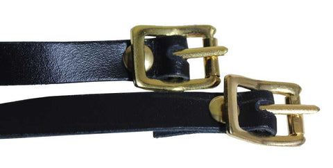 Black Leather Spur Straps w/ Gold Buckle
