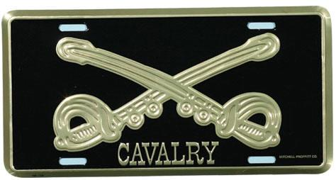 Cavalry License Plate Bold Gold Crossed Sabers
