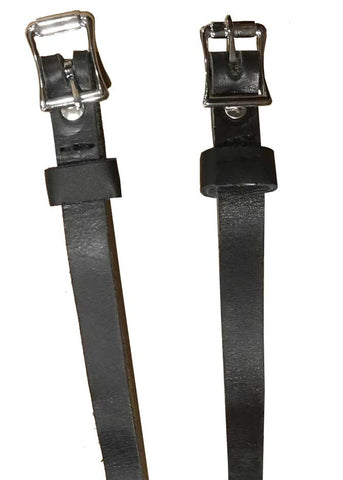 Black Leather Spur Straps (for 1885 Spurs) - Silver Buckle