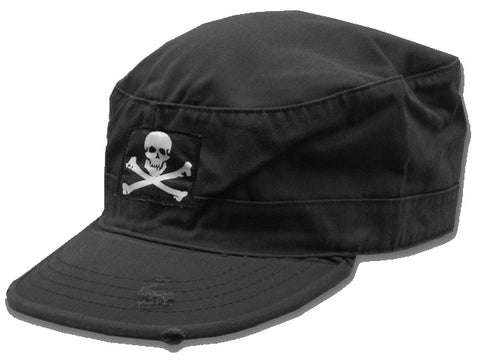Vintage Military Fatigue Cap with Jolly Roger