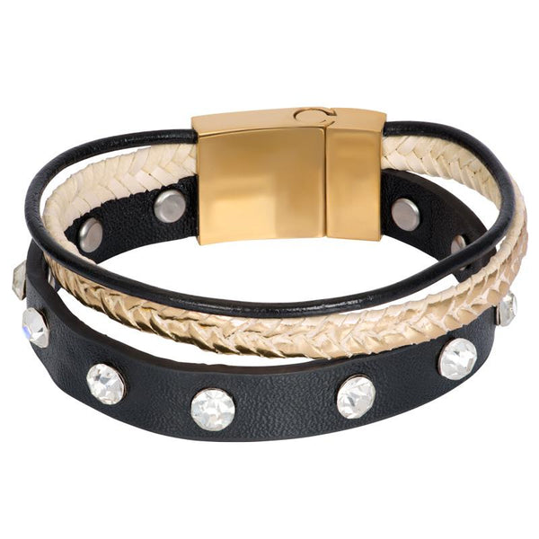 Armband Leather Zirconia Steel Gold
