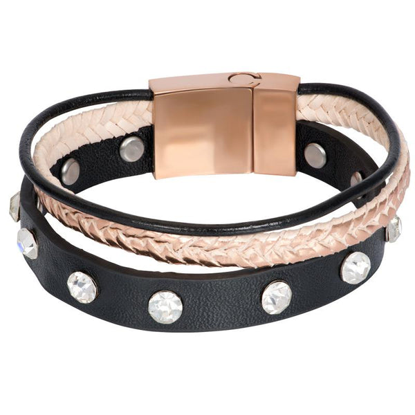 Armband Leather Zirconia Steel Rosé