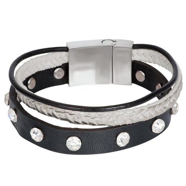 Armband Leather Zirconia Steel Zilver