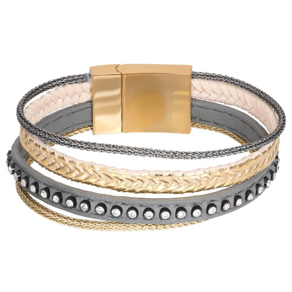 Armband Leather Small Zirconia Steel Gold