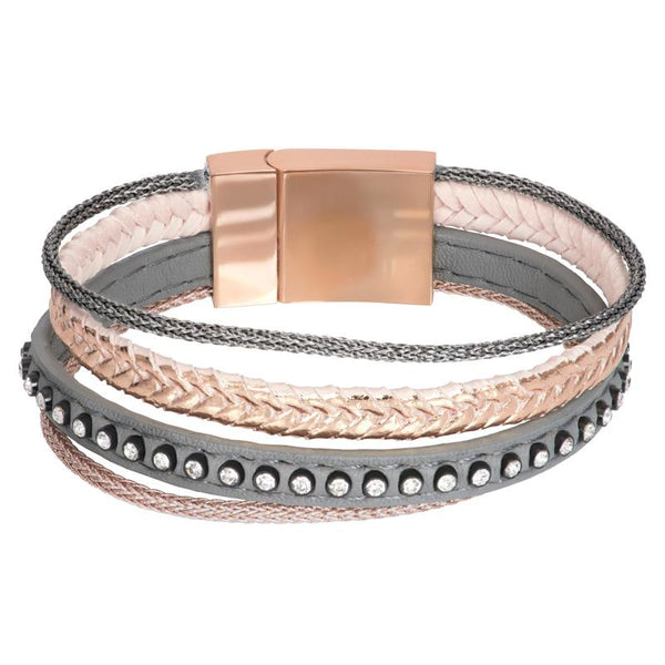 Armband Leather Small Zirconia Steel Rosé