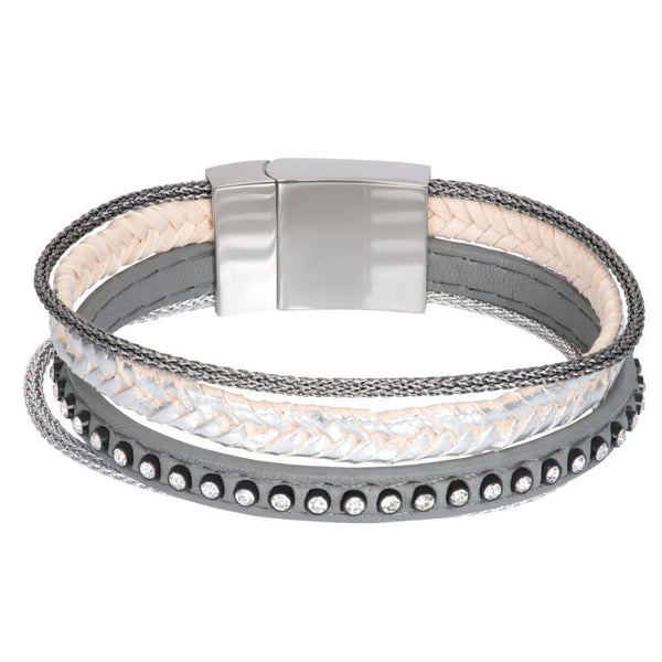 Armband Leather Small Zirconia Steel Zilver