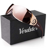 Verdster Casual Wrap Ladies Sunglasses - UV Protection - Women's Large Shield Designer Shades - Rimless Design - Great for Driving - Case included, Leaf Brown (UK/AU)