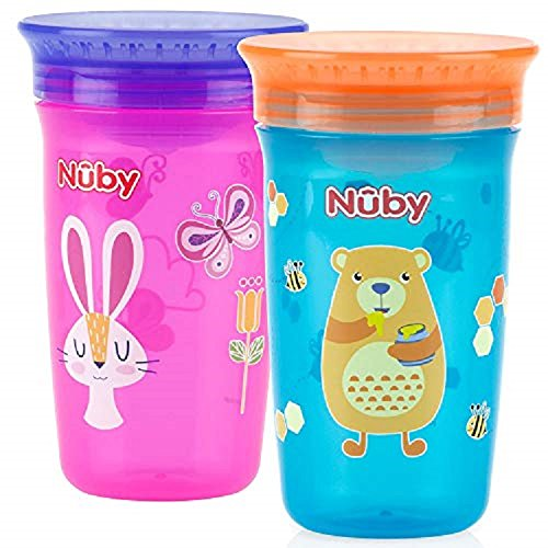 NEW Nuby 360 Degree No Spill Kids Cup Assorted Pack Of 2 For Girls 12 Months