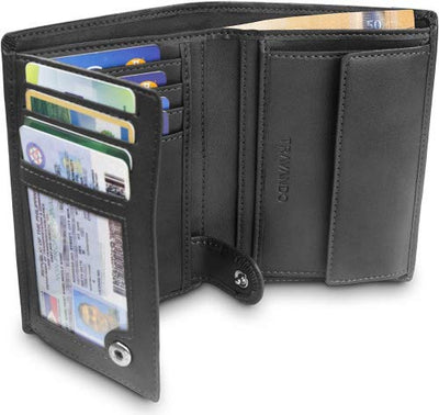 "TRAVANDO ® Men's Wallet ""Dublin"" – Classic Horizontal Bifold Wallet - 10 Card Slots - RFID Blocking - Perfect Gift for Men - with Gift Box - Designed in Germany (UK/AU)"
