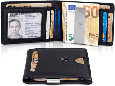"TRAVANDO ® Slim Wallet with Money Clip""Seattle"" - 9 Card Slots - RFID Blocking - Perfect Gift for Men - with Gift Box - Designed in Germany (UK/AU)"