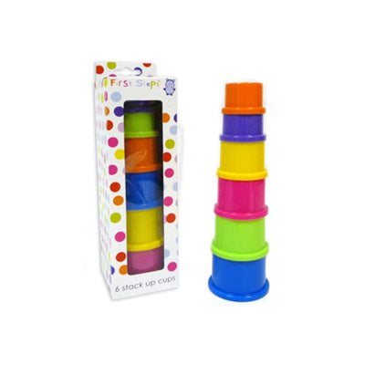 First Steps - 6 Coloured Stack Up Cups - Ideal For 6 Months + - eJinish BD