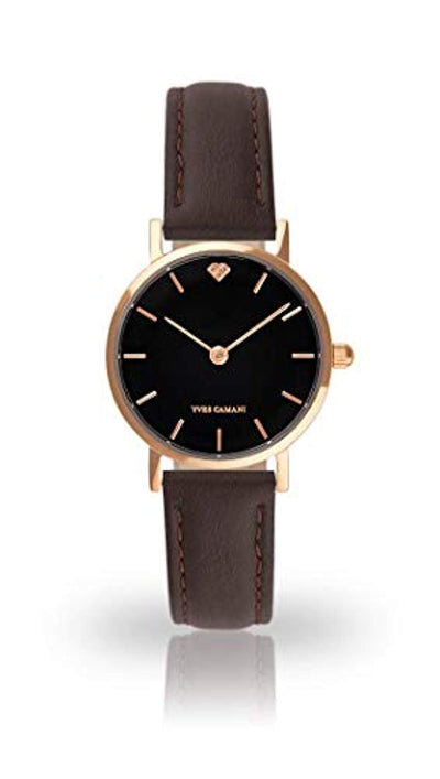 YVES CAMANI LÈA Women's Wrist Watch Quartz Analog Rosegold Stainless Steel Case Black Dial - eJinish BD