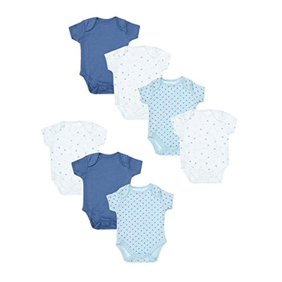 Mothercare Baby Boys' Blue 7 Pack Short Sleeve Bodysuits New - eJinish BD
