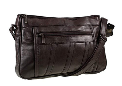 Womens Super Soft Nappa Leather Shoulder Bag / Handbag with Two Main Zipped Compartments (Black / Brown / Navy / Beige / Tan) - eJinish BD