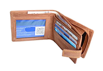StarHide RFID Blocking Wallet For Men | Genuine Distressed Hunter Leather | Large Zip Around Coin Pocket Purse | Designed For Photo ID, Credit Cards And Banknotes - 1044 (UK/AU)