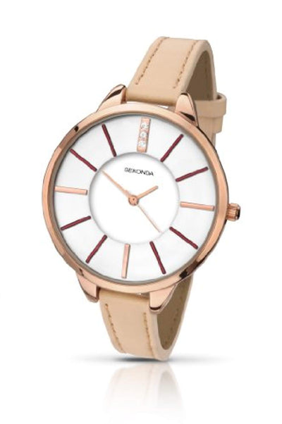 Sekonda Women's Quartz Watch with White Dial Analogue Display and Rose Gold PU Strap 2013.27 - eJinish BD