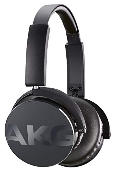 AKG Y50 Portable Foldable On-Ear Headphones Earphones with Detachable Cable and In-line Volume Remote/Microphone - Black - eJinish BD