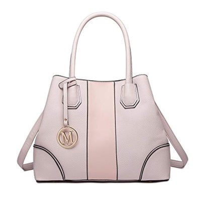 Miss Lulu Leather Look V-Shape Shoulder Handbag Elegant Design Top Handle Fashion Handbags for Women (1822 pink) - eJinish BD