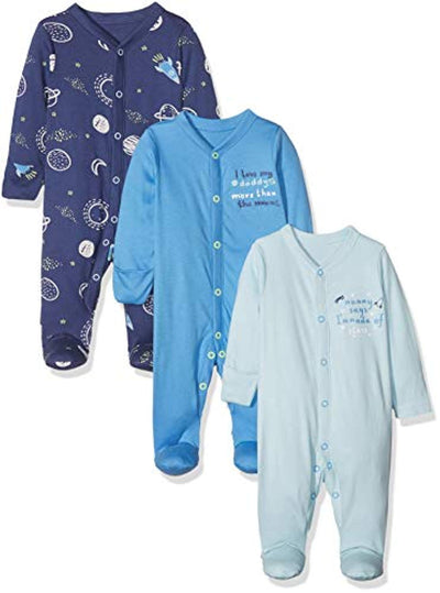 Mothercare Baby Boys Mummy & Daddy 3 Packed Sleepsuit - eJinish BD