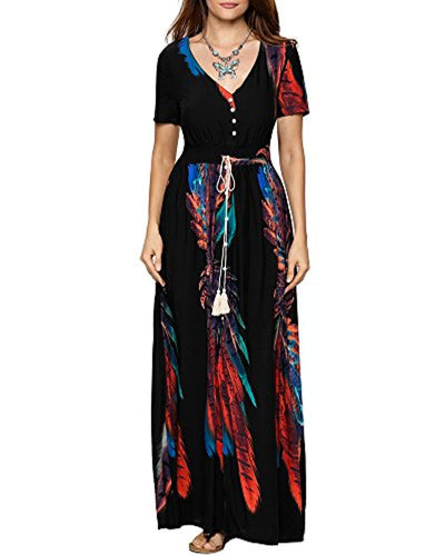 Aofur Women's Vintage A-line Swing Cotton Dress Maxi Party Evening Cocktail Dress - eJinish BD