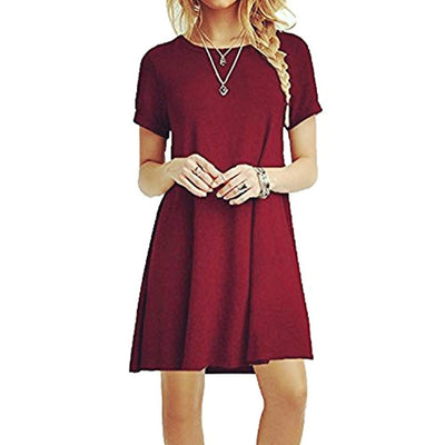 ZNYSTAR Women's Summer Loose Short Sleeves Casual Dress Blouses Dress Loose Tunic Casual T-shirt Dress - eJinish BD