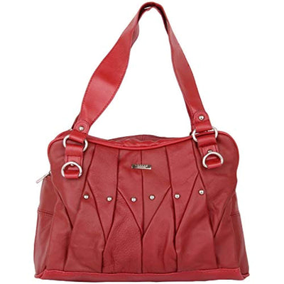 Real Leather Vintage Look Tote Shoulder Bag with Pleated Design (Brown, Tan, Black, Red, Plum or Burgundy) - eJinish BD