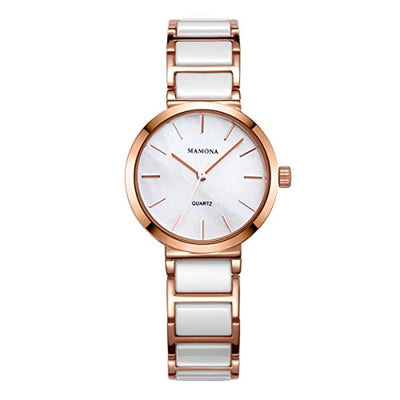 MAMONA Ladies Quartz Watch with Mother of Pearl Dial Analogue Display Ceramic Stainless Steel Wrist Watch Gift for Womens Rose Gold L3876RG - eJinish BD