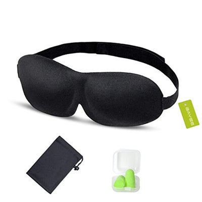 Bayee Sleep Mask, 3D Contoured Eye Cover Sleeping Mask for Women & Men - Effective Blackout Lights, Zero Pressure, Adjustable Straps - Free Carry Pouch and Earplugs Included (UK/AU)