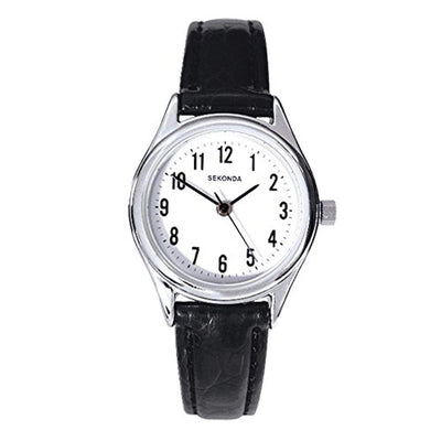 Sekonda Women's Quartz Watch with White Dial Analogue Display and Black Leather Strap - eJinish BD