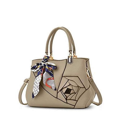 Nicole&Doris Women Flowers Top Handle Handbags Shoulder Bag Crossbody Bag Tote Satchel for Ladies PU Leather Khaki - eJinish BD