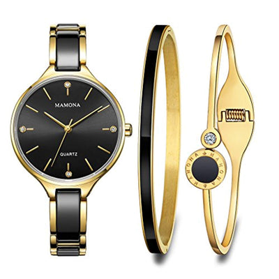 MAMONA Women's Watch and Bracelet Gift Set Gold Stainless Steel and Black Ceramic L3877BKGT - eJinish BD