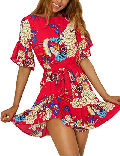 ISASSY Women Casual Loose Short Sleeve Dresses Floral Print Ruffle Hem Casual Mini Dress - eJinish BD