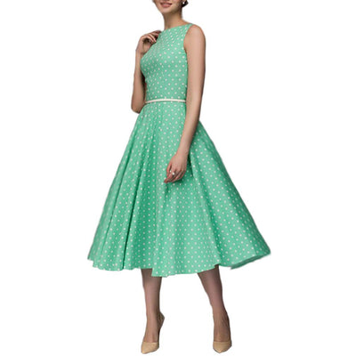 Famulily Womens Summer Sleeveless Dress Vintage Polka Dot - eJinish BD