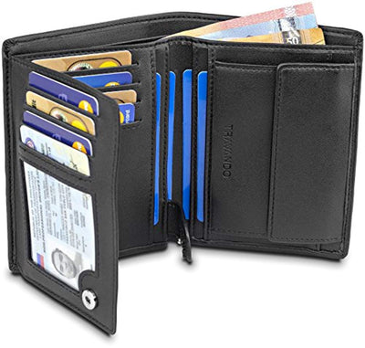 "TRAVANDO ® Mens Wallet Black ""Chicago"" - RFID Blocking - Durable Bifold Wallet - Card Holder - Coin Pocket - Gift Box (Black) - eJinish BD"