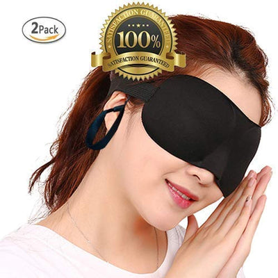 Drkao 2 Pack Eye Mask with Ear Plugs Sleeping Mask Black Color Lightweight with Adjustable Strap - 3D Eye Mask for Sleeping for Man Eye Sleeping Mask for Sleeping for Woman (UK/AU)