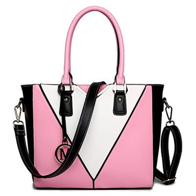 Miss Lulu Leather Look V-Shape Shoulder Handbag (Pink) - eJinish BD