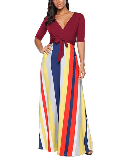 SELUXU Women's Summer Fashion Colorful Stripe Vintage Long Dress Evening Party V Neck Half Sleeve Beach Maxi Dress S (Size-UK 8-10) - eJinish BD