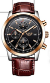 LIGE Mens Watches Fashion Waterproof Chronograph Sport Quartz Watch Men Casual Black Leather Wristwatch (UK/AU)
