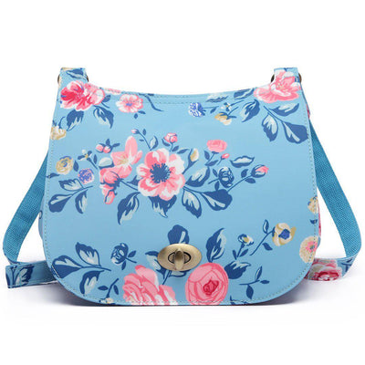 Miss Lulu Fashion Ladies Bird Flower Pattern Oilcloth Cross Body Messenger Satchel Bag Saddle Handbag - eJinish BD