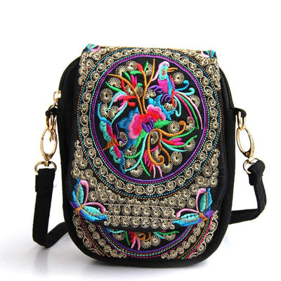 Eagsouni® Womens Embroidered Flowers Cross Body Bag Small Crossbody Phone Shoulder Bags Ethnic Style - eJinish BD