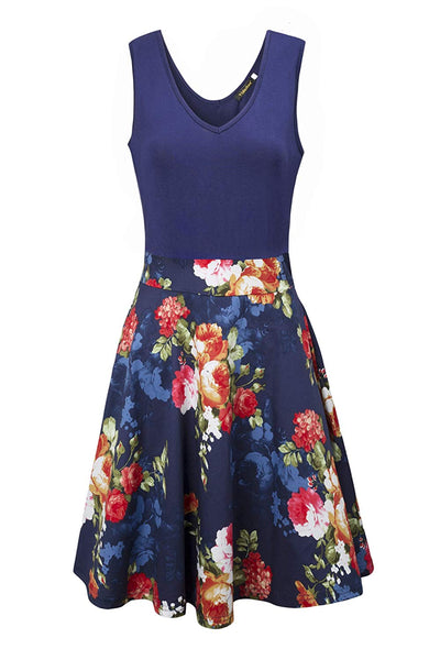 Yidarton Women's Vintage Dress V Neck Sleeveless A Line Mini Dress Cocktail Party Floral Summer Dress - eJinish BD