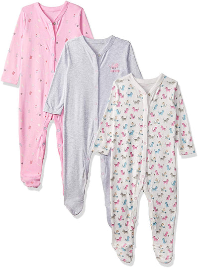 Mothercare Baby Girls' Craft 3 Pack Sleepsuit - eJinish BD