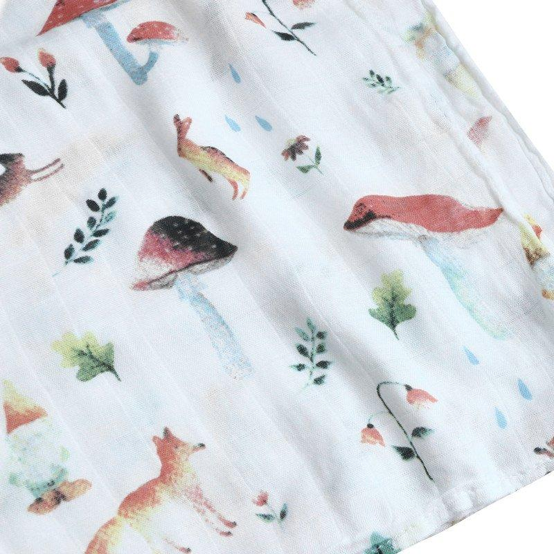 Rabbit & Mushroom Swaddle For Newborn | 100% Bamboo Muslin Baby Blankets | Forest Theme |  Swaddling Bath Towel