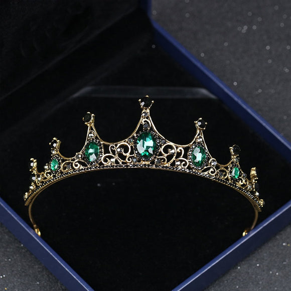 Vintage Small Baroque Green Crystal Crown