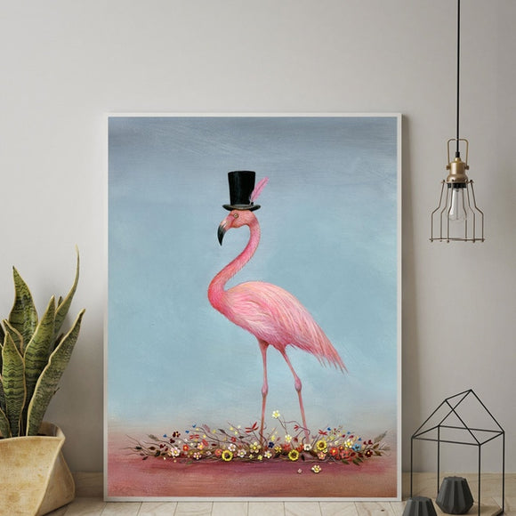 Pink Flamingo Love Wall Art | Canvas Paintings | Whimsical Posters and Prints | Bedroom Home Decoration
