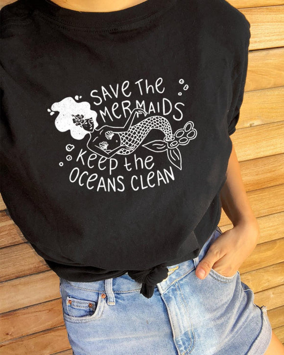 Save The Mermaids T-Shirt | Vintage Tee | Eco Warrior