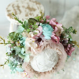 Vintage style bonnet floral headdress | 0 3 6 Month Sitter | Baby props for photography