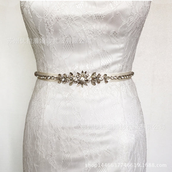 Rhinestones Bridal Sash Wedding Dress Sash Belt Crystal Waist Belt